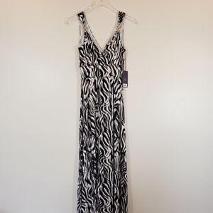 NWT Jennifer Lopez Maxi Dress Zebra Print Beach XS